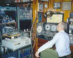 Paul Wilson, W4HHK, at his station, working W5LUA/5 in Mississippi via EME on 10 GHz.