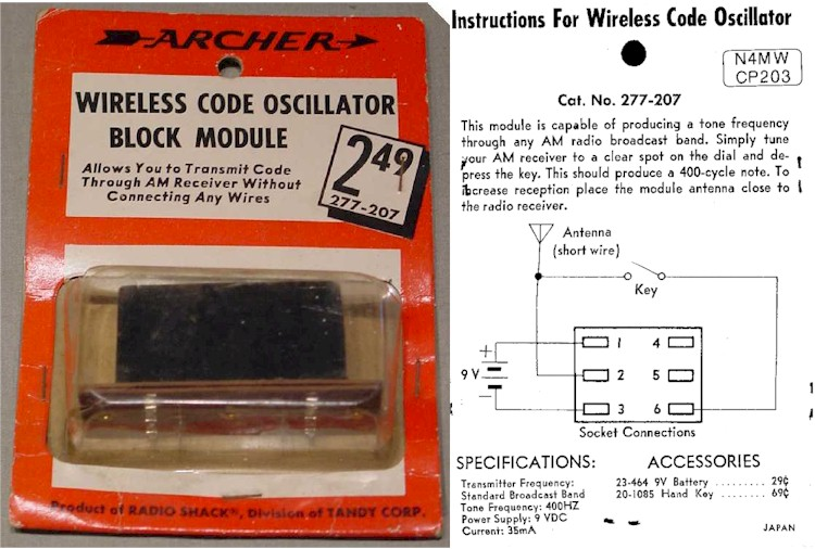 Archer 277-207 Wireless Code Oscillator Block Module