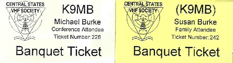 Serialized banquet tickets generated from the database. White for Society members, yellow for others.  Parens around calls denotes unlicensed associated other.  The tickets were collected upon entering the banquet area and then used for door prize drawing.