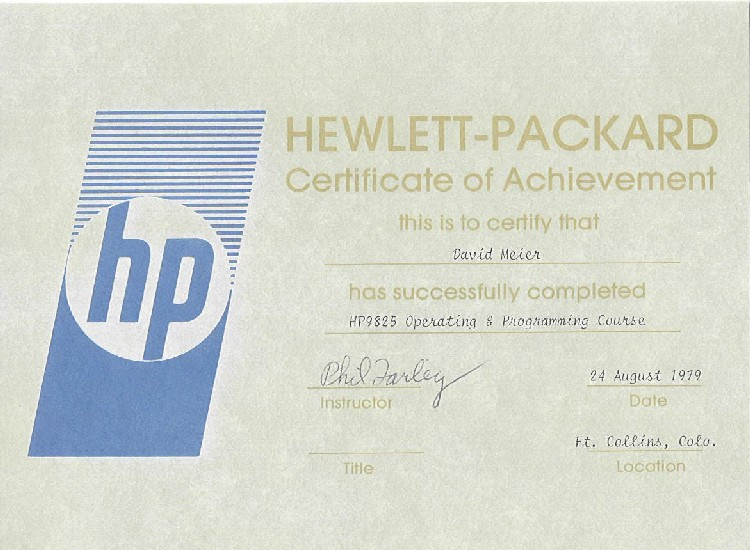 My HP9825 Operating & Programming Course Certificate of Achievement - August 1979