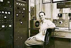 W4HHK at his 2-meter station during the early 1950s. The National HRO-50 receiver was used on 7 MHz with a 144-MHz converter. His amplifier ran a pair of 4-65As. The antenna was a 32-element collinear at 80 feet.